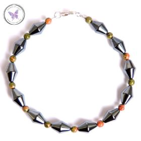 Men's Hematite & Unakite Bracelet